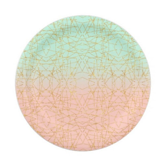 8 CORAL u0026 MINT Green Gold Paper Plates Gold Parisian Vintage Style Shabby Chic Garden Tea Pink Seafoam French Paris Bridal Shower Birthday from ...  sc 1 st  Etsy Studio & 8 CORAL u0026 MINT Green Gold Paper Plates Gold Parisian Vintage Style ...