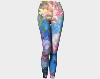 Dreams of Love pants Yoga leggings yoga pant flowers art Peony Pink Peonies floral women's legging gifts dancewear exercise women night out