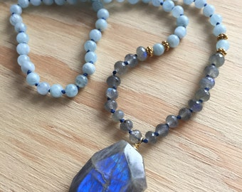 Aquamarine necklace featuring AAA Labradorite and 24k Gold vermeil accents