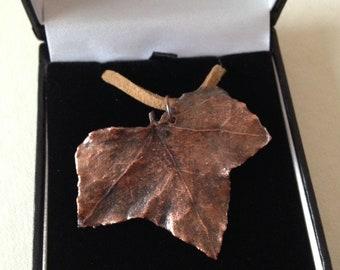 Real Ivy leaf copper pendant