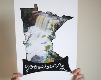 Minnesota Art Print - MN Photography - Waterfall Print - Nature Photography - Gooseberry Falls State Park Print - North Shore MN - 11x17 in