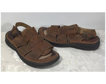 Men Sandals, Brown shoes, Leather sandals, Size 10 Men's shoes,  Summer shoes, Comfortable shoes, Slide on shoes