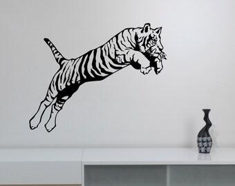 Tiger Wall Decal Removable Vinyl Sticker Wildcat Wildlife Art Safari Animal Decorations for Home Living Dorm Room Bedroom Office Decor tgr2