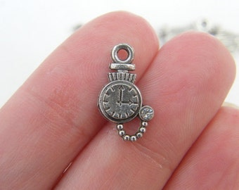 12 Pocket watch charms antique silver tone P195