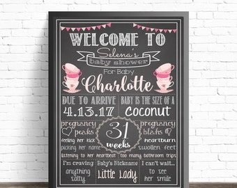 Tea Party Baby Shower Decorations / Chalkboard Sign / Printable Poster / Pink Nursery Decor / Girl Baby Sprinkle / Baby Shower Welcome Sign