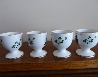 "Vintage Carrigaline Pottery Co. Ltd. Cork Ireland Shamrock  EGG CUPS 2 1/4"" Set of Four"
