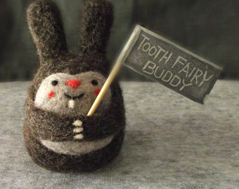 Tooth Fairy Pillow, Boys Girls Tooth Fairy Buddy, Needle Felted bunny, Personalized