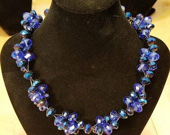 Majestic Blue crystal cluster necklace