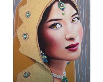 Golden Indian Bride - ART PRINT - 8 x 10 - By Toronto Portrait Artist Malinda Prudhomme
