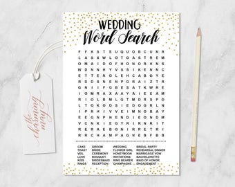 Wedding word search Game. Bridal Shower Game. Gold Bridal Shower Party. Party Printable Instant Download. Gold Confetti BRSG003