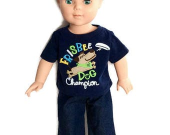 18 Inch Boy Doll T-Shirt and Blue Jeans, Short Sleeved Navy Frisbee Dog Champion T shirt, 18 Inch Boy Doll Clothes
