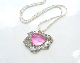 Vintage Pink Poppy - Glass Cabochon Silver Pendant, Necklace - Premium Argentium Sterling Silver, OOAK