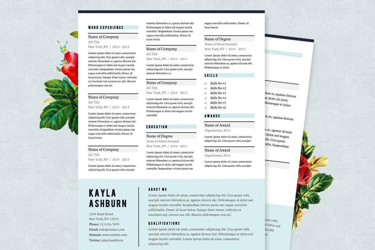 Azul curriculum vitae y carta de presentación plantilla