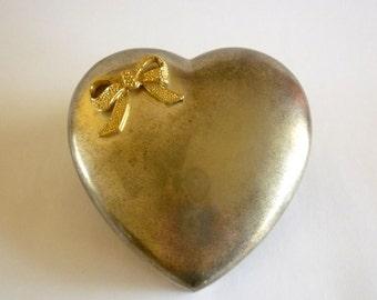 Large Heart Silver Tone Trinket Box
