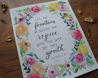 Proverbs 5:18 KJV// Floral Watercolor Wreath// let thy fountain be blessed