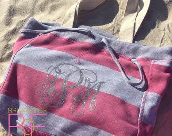 Bling Glitter Monogrammed Beachcomber Tote Bag