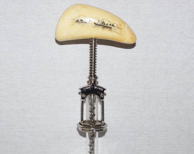 Scrimshaw Bacchus Split Frame Spring Assist Corkscrew with Scrimshaw Design Handle