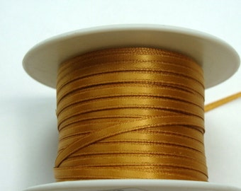 """1/8"""" Satin Ribbon - Old Gold - Whole Spool - 100 yds"""