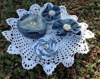 Handmade Denim Flowers set of Four