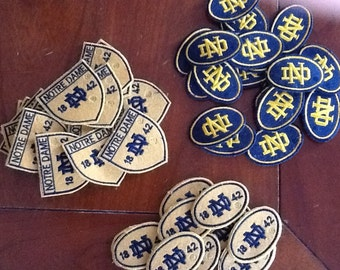 "Sold out of ND cream ovals and blue ovals only have ND Shield Patches left-- Notre Dame ""Fighting Irish"" patches, other schools"