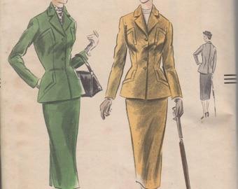 Buste 34-1951 Misses' costume Vogue 7292 taille 16 Hip 37