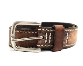 Vintage Mens Leather Belt Brown Size 32