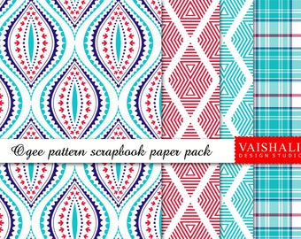 Ogee pattern, shades of blue & red, seamless pattern, 4 sheets, digital prints