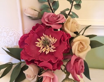 Two Cold porcelain Peony and  Rose Sprays, handcrafted realistic flowers made by Bloom&Bakes
