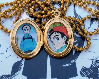 Fooly Cooly Naota gold oval locket necklace flcl anime fan art jewelry gift cosplay vaporwave weeb otaku weeaboo kawaii cute minimalist