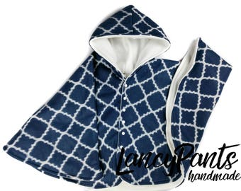 Size 8 navy lattice fleece car seat poncho - ready to ship - winter children's poncho -coat - 6-8 years