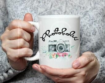 Photoholic Floral Camera Mug - 11oz - 17oz - Photography - Gift for Photographer - Camera Mug - Coffee Mug - Photography Prop - Water Color