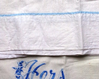 vintage pillowcases HIS & HERS  cotton white blue embroidered standard size bedroom decor cottage chic