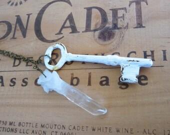 Long Boho Quartz Crystal and Vintage Key Necklace