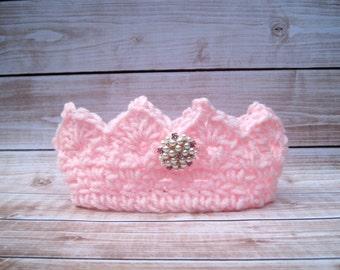 Pink Baby Princess Crown, Baby Girl Birthday Smash, Baby Girl Crown, Baby Girl Tiara, Newborn Girl Crown, Infant Girl Crown, Newborn Crown