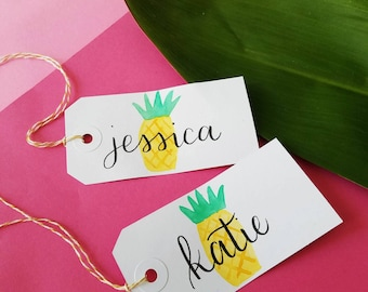 Pineapple Bachelorette Party Gift Tags - Set of 10 - Pineapple Party Decor - Pineapple Party Favor Tags - Personalized Gift Tags