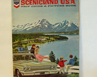 Scenicland USA - Vintage Trip Guide & Picture Book Chevron Oil 1964 Travel