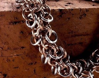 Copper & Stainless Steel - Chainmaille Bracelet