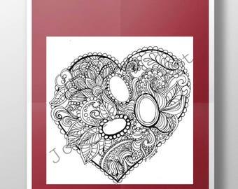 Digital Coloring gem page pdf printable