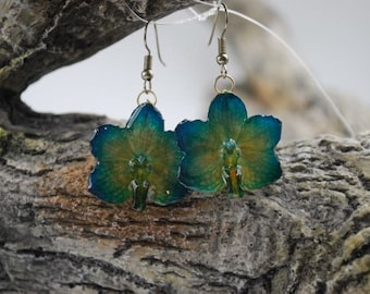 Vanda Candy Orchid Jewelry Earring - Orchid Earrings - Turquoise Earrings - Flower Earrings - Floral Earrings - Statement Earrings