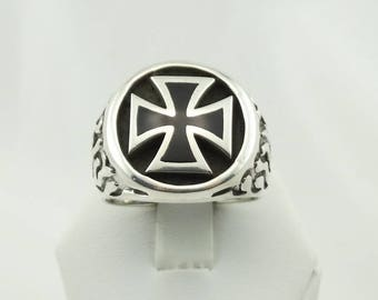 Vintage Maltese Cross and Flames Sterling Silver Biker Ring FREE SHIPPING! #MALTESE12.5-MS