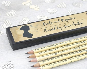 Pride and Prejudice pencils - Jane Austen gifts - Quote Pencils - Mr Darcy pencils - Elizabeth Bennet - Book Lover Gifts - Book pencils