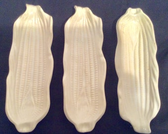 Vintage Stoneware White  Corn on the Cob Dish Made in Japan