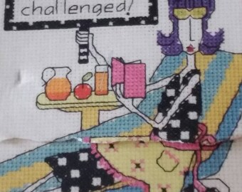 """Counted Cross Stitch Kit, """"Domestically Challenged"""" Janlynn, Dolly Mama, Hilarious 6x10 Cross Stitch, A Little Something Sweet for the Best!"""