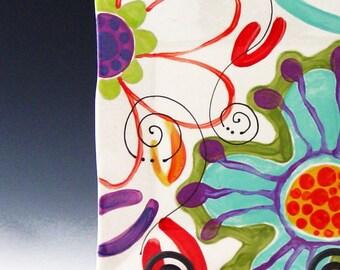 """Platter Ceramic Platter Colorful Platter Platter Serving Platter Pottery Platter Square Platter Medium Flareware Platter 10"""" Hostess Gift J"""
