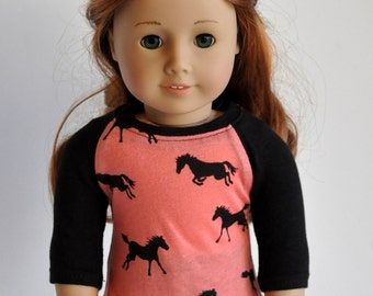 Coral Horse Pony  Raglan Sleeve Baseball Style Shirt  18 inch Doll Clothes