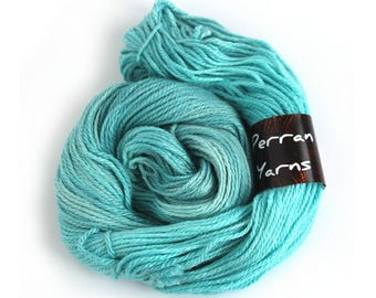 Blue aran wool, handdyed merino silk Perran Yarns Seafoam semi-solid worsted wool, knitting crochet yarn skein, pale turquoise uk yarn