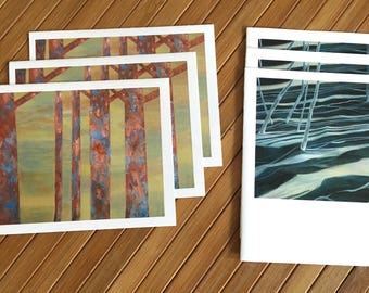 Set of 6 original abstract tree art notecards with envelopes