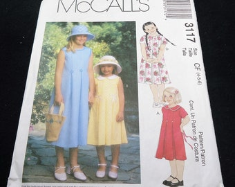 McCalls Children's And Child's Dress Pattern 3117 Size 4 - 5 - 6