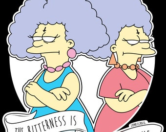 Patty & Selma Bitterness Is Strong In This One The Simpsons Alternative Pop Art Goth Ink Print by zombieCraig