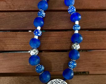 Thai Hill Tribe Silver and Ghanaian Recycled Glass Blue Sea Necklace